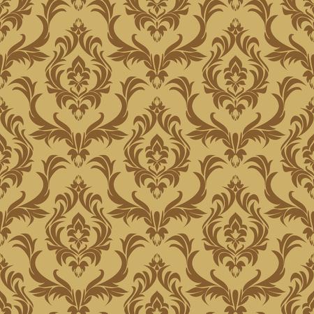 Seamless damask floral beige Wallpaper for Design.