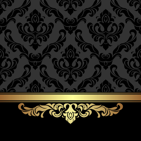 Rich charcoal damask Background with golden Ribbon.  Illustration