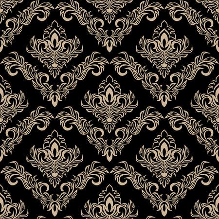 Seamless damask  Wallpaper on black in retro Style Çizim