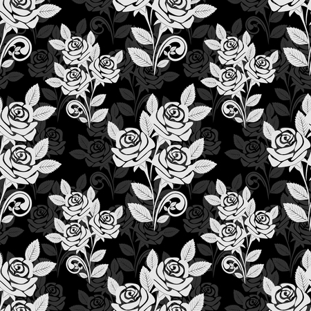 Seamless rose pattern in black-gray colors