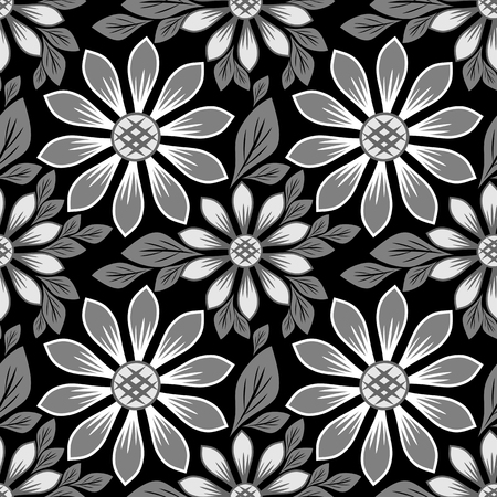 Seamles floral daisy Pattern - black and white Design