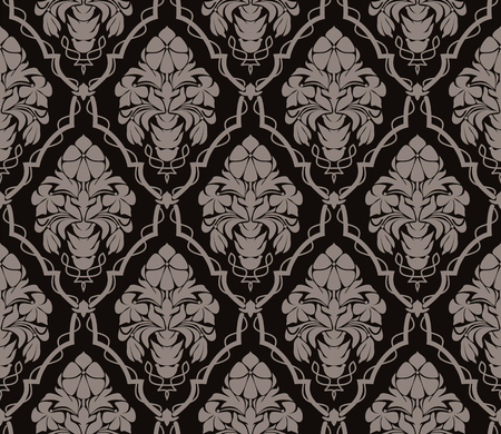 Seamless ornate damask Wallpaper in retro Style. Ornament with bouquet of Flowers.