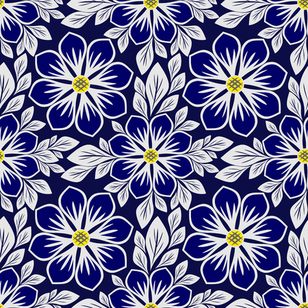 Bright blue floral seamless Pattern with beautiful Flowers