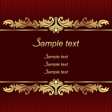Elegant red Background with golden Borders for invitation design