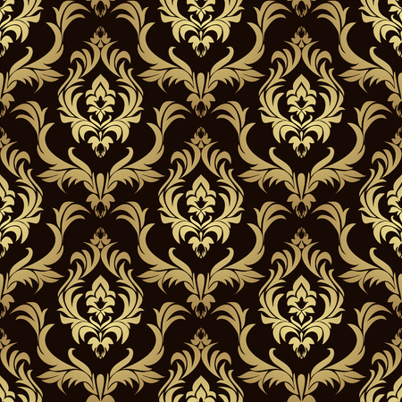 Luxury damask seamless Wallpaper for Design - gold on chocolate Illustration