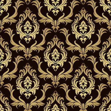 Luxury damask seamless Wallpaper for Design - gold on chocolate Çizim