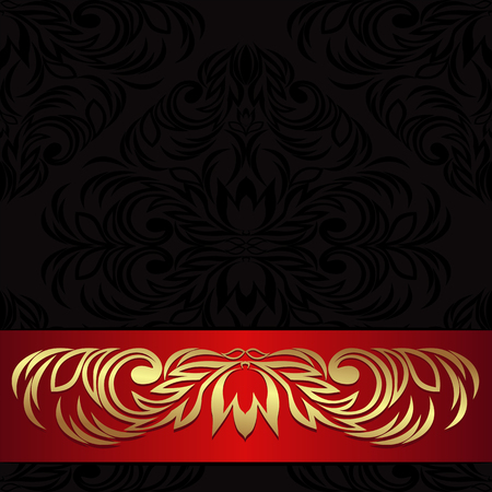 Luxury black ornamental Background decorated the red Ribbon with gold floral Elements