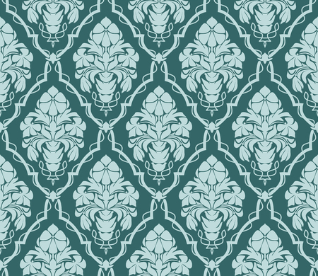 Seamless ornate damask Wallpaper for design. Ornament with bouquet of Flowers.