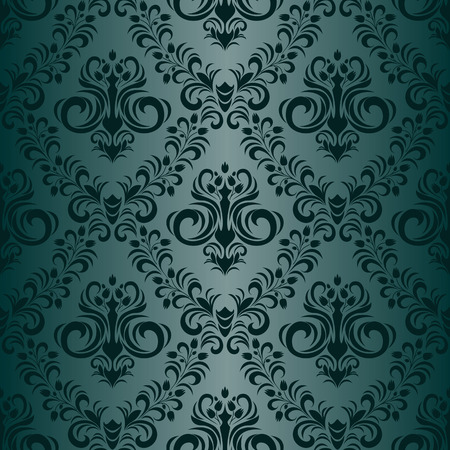 Floral ornamental seamless turquoise Wallpaper in retro style