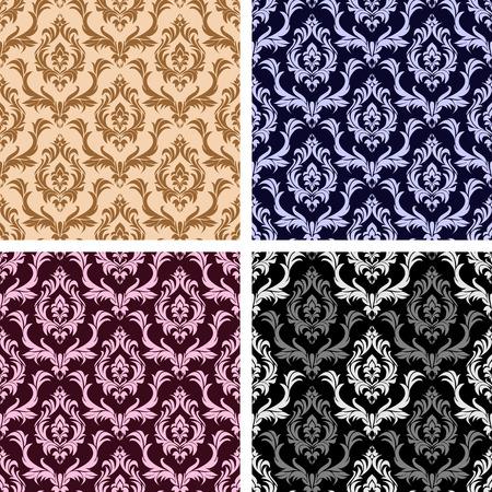 Seamless damask floral Wallpaper- set on four Variants