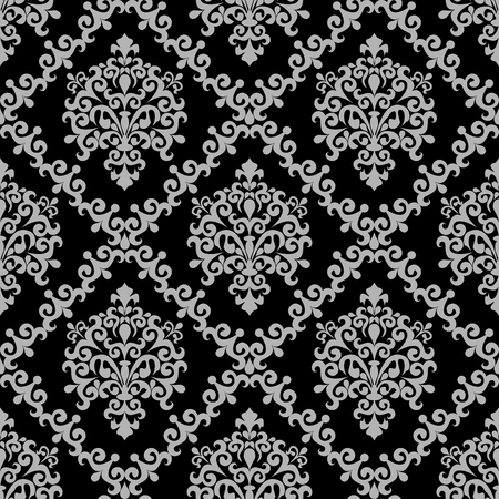 Seamless damask floral Wallpaper - gray Ornament on black