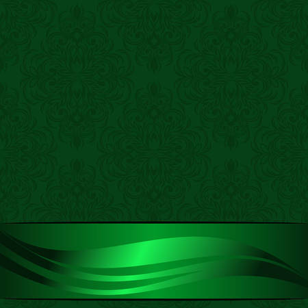Elegant green ornamental Background decorated the beautiful Ribbon with Place for your Information Çizim