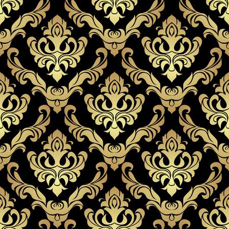 Luxury golden damask seamless Wallpaperon black for Design