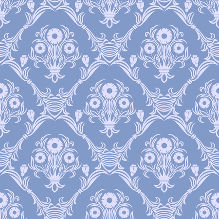 Damask seamless retro Wallpaper - Ornament with bouquet of Flowers.