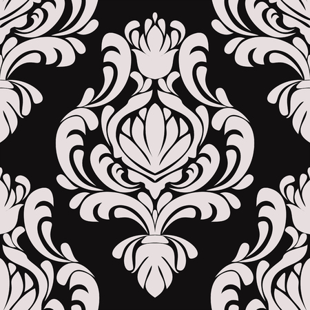 Seamless damask floral Ornament on black