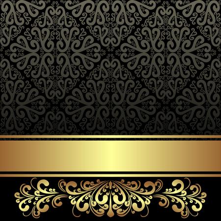Elegant black ornamental Background with golden Ribbon and floral Border Çizim