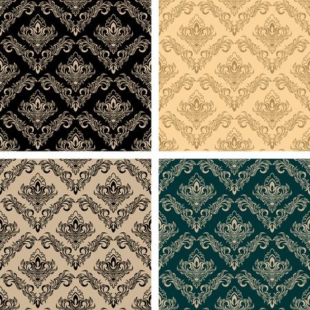 Original damask seamless Wallpapers - set of four Colors