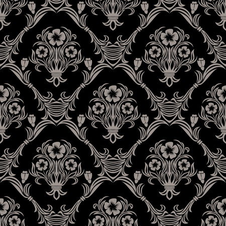 Seamless damask Wallpaper with flowers Ornament Illustration