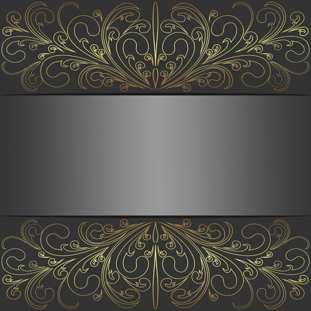 Luxury  Background with golden lacy Border and Place for Text.