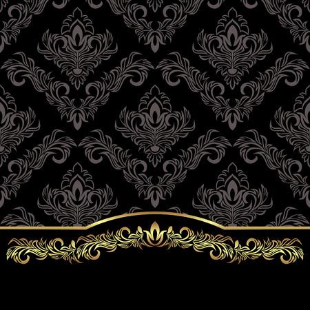 Luxury black damask Background decorated the golden floral Border