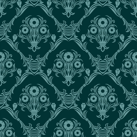Seamless turquoise damask Wallpaper with bouquet of Flowers. Illustration