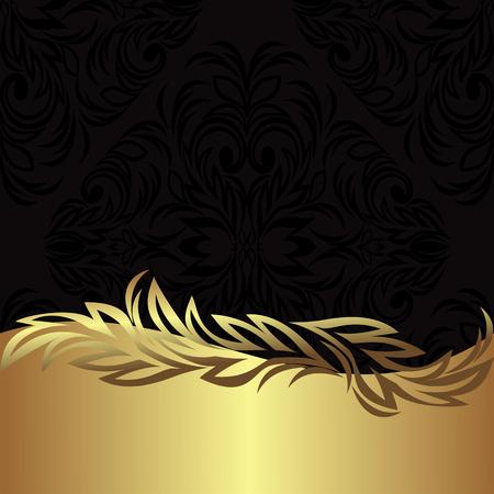 Elegant black ornamental Background with golden floral Border Çizim