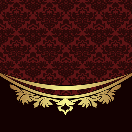 Elegant ornamental Background with golden  floral Border Çizim