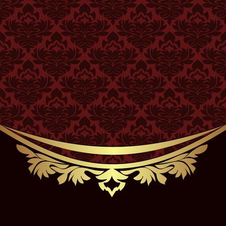 Elegant ornamental Background with golden  floral Border Illustration