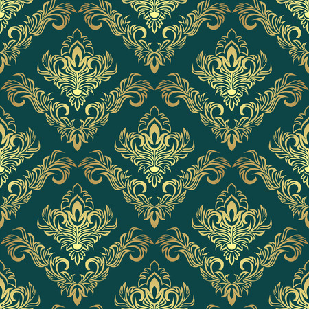 Luxury golden damask Pattern on dark green