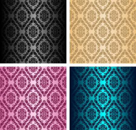 Seamless retro damask Pattern - set of four colors