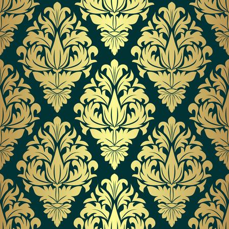 Luxury golden seamless Wallpaper on green. Illustration