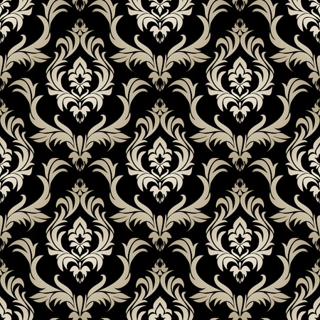 Seamless retro damask Wallpaper - silver floral Ornament on black.