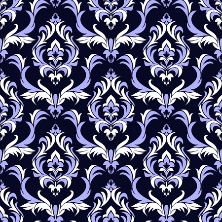 Seamless damask floral Wallpaper for Design. Combination Colors - blue and white