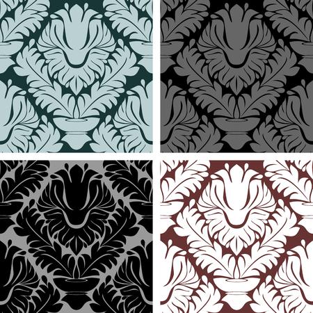 Seamless damask Ornament - set on four Variants