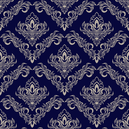 Seamless navy blue Wallpaper with damask Ornament for design