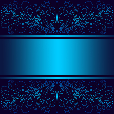 Luxury blue Background with elegant floral Borders and Ribbon (Place for Text).