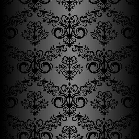 Seamless black floral Wallpaper in retro Style