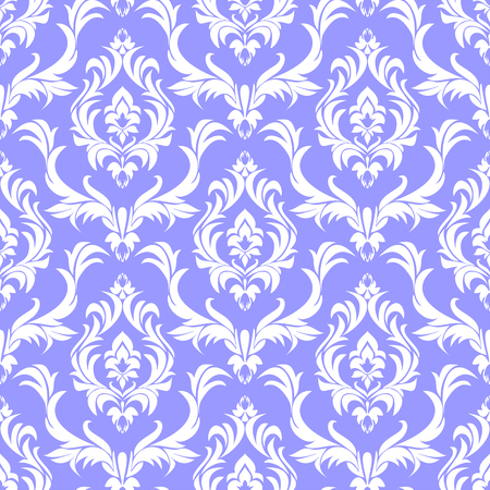 Seamless damask white Pattern on blue in retro Style