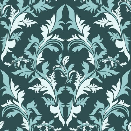 Seamless damask floral Ornament - color combination.  Çizim