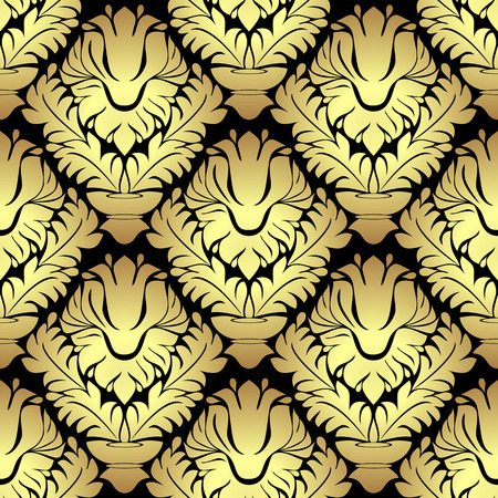 Ornamental golden damask seamless Pattern on black