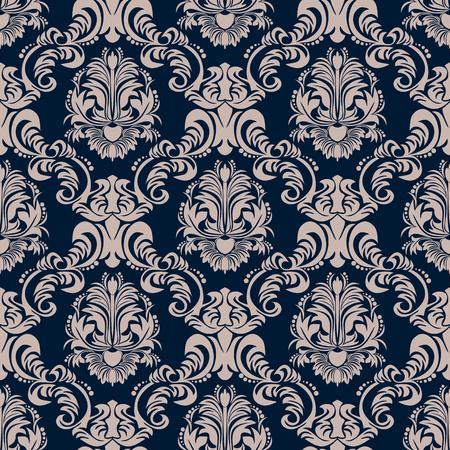 Rich seamless ornamental damask Wallpaper on blue. Illustration