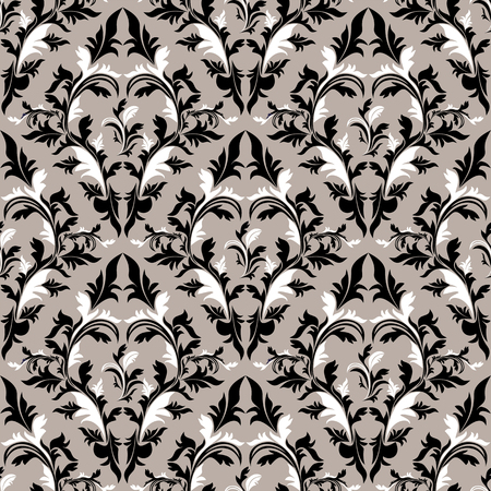 Seamless damask floral Wallpaper - black, grey and white Colors.