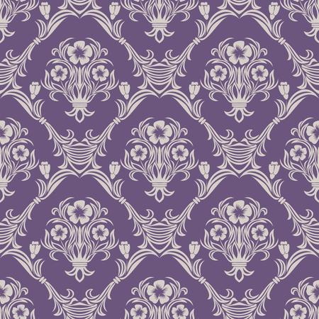 Seamless floral Wallpaper on violet Çizim