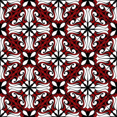Seamless  Pattern with red-white Ornament