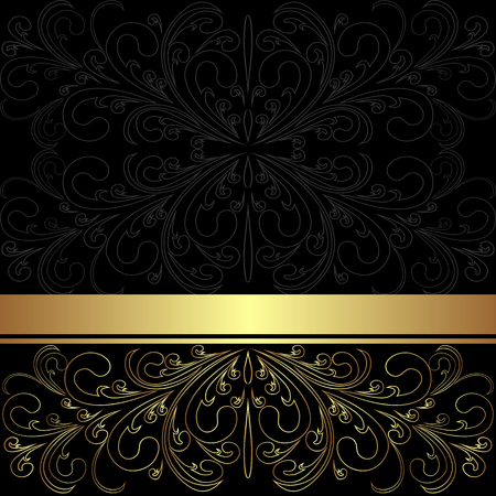 Luxury charcoal Background with golden lacy border