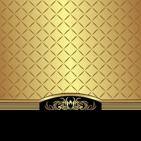 Elegant golden Background decorated the black Border with golden floral Elements Çizim