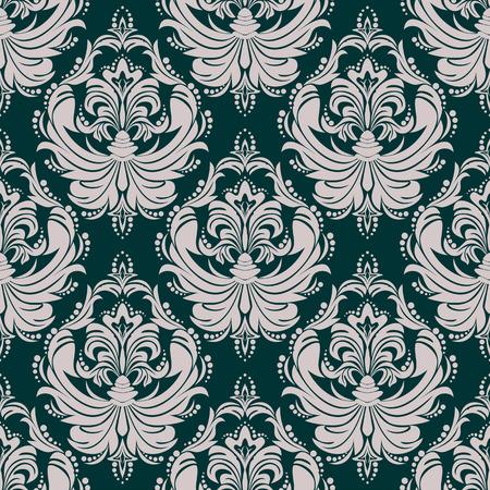 Ornamental damask seamless Wallpaper for Design Çizim