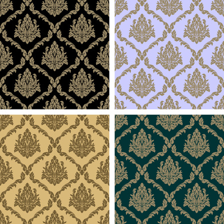 Damask floral repeat Pattern - set in four Variants