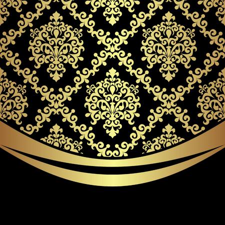 Ornate golden damask Background with golden Border on black.  Vectores