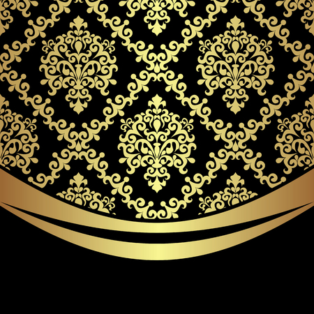 Ornate golden damask Background with golden Border on black.  Иллюстрация